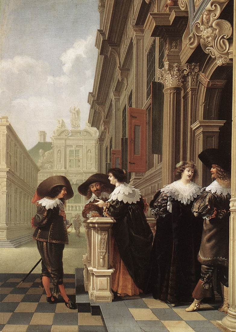 Dirck_van_Delen_-_Conversation_outside_a_Castle